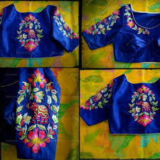 Blue Color Saree Blouse Designs Beautiful Royal Blue Color Designer Blouse With Floret Lata