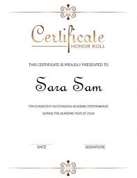 Certificate Of Honor Template 40 Honor Roll Certificate Templates Awards Printable