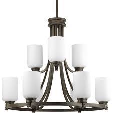 progress lighting orbitz collection 9 light antique bronze chandelier with opal etched glass shade