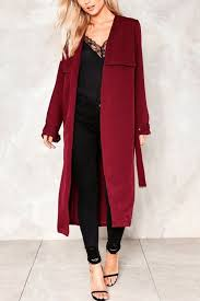 dark red burdy belted back chic trench coat