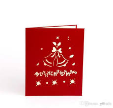 online christmas card laser cut wedding invitations merry christmas bell 3d pop up card