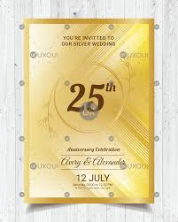 Golden Invitation Card Design Happy Wedding Anniversary Invitation Card Design With Ornaments In Golden Style Vector Uxoui