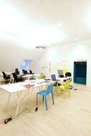 open plan office design ideas. Chairs Are Painted Pastel Color In Open Plan Office :) #openplanoffice Cubicles.com Design Ideas