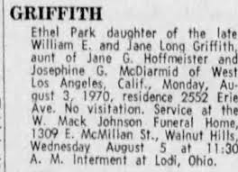 Obituary for Ethel GRIFFITH Park - Newspapers.com