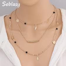 Seblasy <b>3 Layer Bohemian</b> Clavicle Chain Black Beads Alloy ...