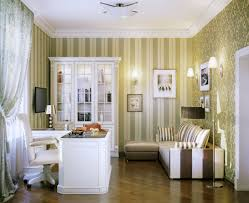 wallpapered office home design. Best Fantastic Home Office Design Inspiration Ideas With White Wood Sectional Desk And Leather Chair Along Brown Stripes Wallpapered H