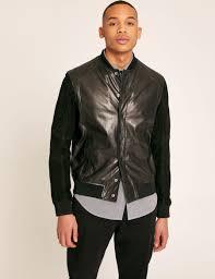 armani exchange suede sleeve leather varsity jacket blouson jacket for men a x