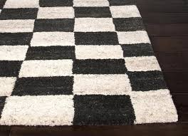 soft black and white checd rug
