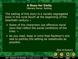a rose for emily by william faulkner ppt video online a rose for emily literary focus setting
