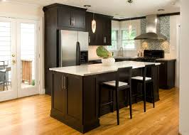 dark kitchen cabinets. Small Kitchen With Dark Shaker Cabinetry. | Photo Source: Desireerover.com Cabinets