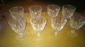4 small and 4 medium lead crystal wine glasses