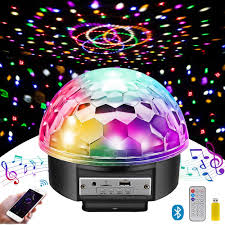 Strobe Light Speaker Disco Ball Party Lights Bluetooth Speaker 7 Inch 2 Bass Speaker 9 Colors Light 4 Modes Tf Card Mp3 Player Sound Activated Led Dj Stage Strobe Lamp