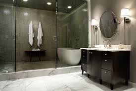 bold and luxurious walk in shower enclosure with bathtub