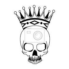 Fototapeta Tetování Lebka S Korunou Kreslení Vektorové Ilustrace Grafický