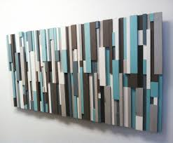 zoom on turquoise wood and metal wall art with modern wood art cottage chic wood strip artwork cooling