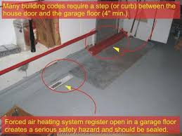 an attached garage to room entry door its threshold needs to be slightly elevated placed higher than the garage floor surface