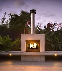 formed concrete outdoor gas fireplace