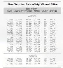 Choir Robe Size Chart Living Vine Gifts Choir Robes Stoles