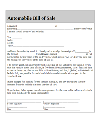 Vehicle Bill Of Sell Blank Sample Bill Of Sales 9 Free Sample Example Format Download