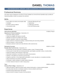 Department Of Human Assistance Human Service Specialist Resume