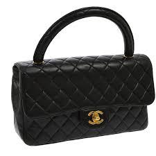 chanel kelly bag. chanel vintage black lambskin kelly style evening top handle satchel bag 1