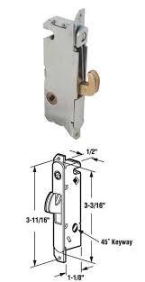 sliding patio door mortise lock 45 deg keyway for w f patio door