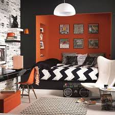 Orange And Black Bedroom Modern Teenage Boy Bedroom With Orange Black Wall Color And