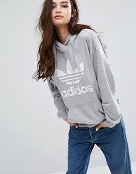 adidas hoodie womens. adidas originals gray trefoil hoodie womens