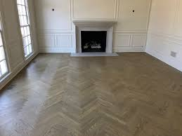 Herringbone Wood Floors with Custom Stain Color | Kashian Bros Carpet and  Flooring