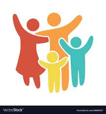 Simple Family Happy Family Icon Multicolored In Simple Figures Vector Image