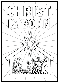 Nativity Color Page Christmas Worksheet Printables Vizualzme