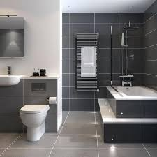 gray bathroom tiles large dark grey tiles surrounded by white grout and white appliances makes this
