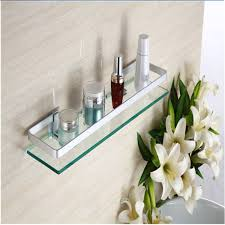 Glass Bathroom Shelf 35cm Glass Bathroom Shelf Rectangle Wall Mounted Sundries Stand At