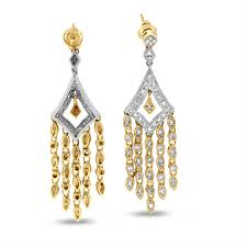 0 40 carat natural diamond royal chandelier earrings in solid 14k two tone gold chandelier earrings women s jewelry