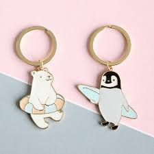 Gold Plated <b>Cute Cartoon</b> Keychain <b>Bear</b> Swimming <b>Penguin</b> Skiing ...