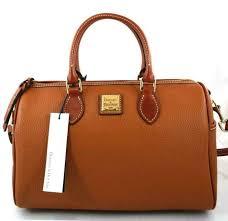 dooney bourke leather carmel brown side pocket satchel purse cross