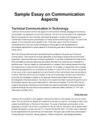 sample essay on communication aspects sample essay on communication aspects technical communication in technology technical communication refers to the aspect o