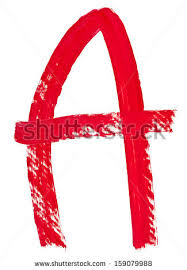 stock photo capital letter a hand painted by red brush on white background