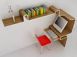 creative furniture design. Efficient Space Managing Working Space. The Folding Curved Shape Creates Shelving And Desk Within One Unit. [Designer - Misosoup Design] Creative Furniture Design