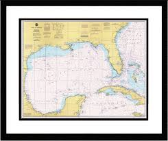 Gulf Of Mexico Framed Nautical Chart