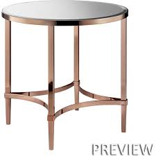 madison park signature mps120 0205 triton round end table in rose gold metal w mirror top