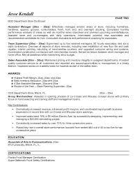 Department Store Manager Resumes Store Resume Format Barca Fontanacountryinn Com