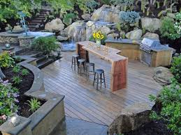 Making An Outdoor Kitchen Lovely Outdoor Kitchen Ideas With Wooden Counter And Small Grey