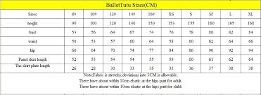 Tutu Measurement Chart Size Chart Of Tutus