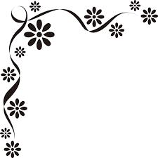 装飾 オーナメント花モノクロ 無料イラストpowerpoint