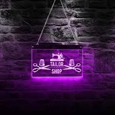 Neon Sign Logo Design Amazon Com The Geeky Days Sewing Machine Tailor Shop Logo