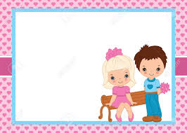Small Card Template Vector Valentines Greeting Card Template With Cute Little Kids