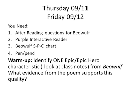 Beowulf Characteristics Of An Epic Hero Chart Thursday 09 11 Friday 09 12 You Need 1 After Reading