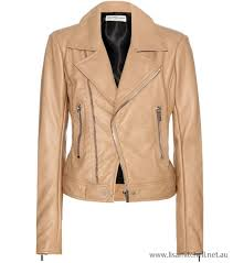 beige women s leather biker jacket australia