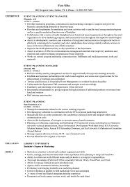 Event Manager Resume Samples Philchang Event Planning Resume Planner Samples Templates